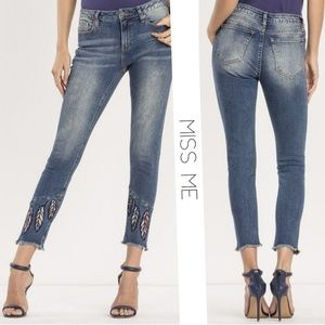 MISS ME Split Second Feather Ankle Skinny Jeans 30